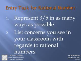 Entry Task for Rational Number