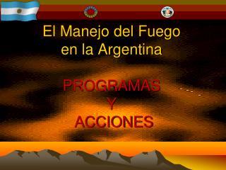 El Manejo del Fuego  en  la Argentina PROGRAMAS  Y  ACCIONES