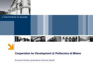 Cooperation for Development @ Politecnico di Milano