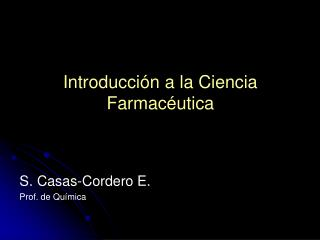 Introducción a la Ciencia Farmacéutica
