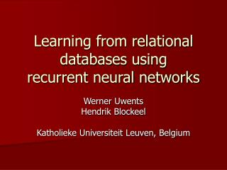 Learning from relational databases using  recurrent neural networks