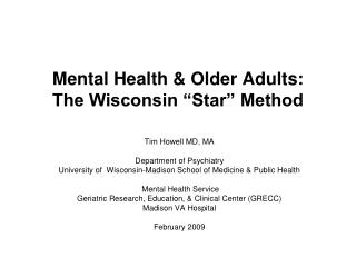 Mental Health & Older Adults: The Wisconsin �Star� Method