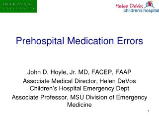 Prehospital Medication Errors