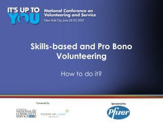 Skills-based and Pro Bono Volunteering