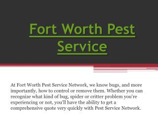 Fort Worth Pest Treatment
