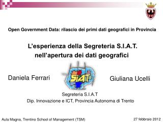 Aula Magna, Trentino School of Management (TSM)