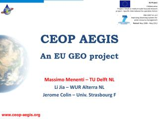 CEOP AEGIS An EU GEO project
