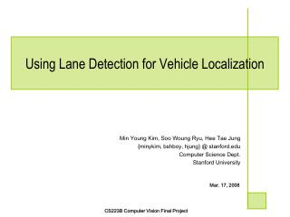 Using Lane Detection for Vehicle Localization