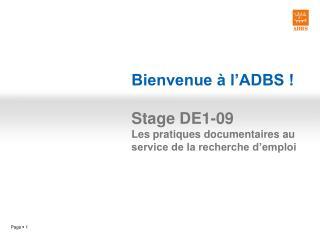 Bienvenue à l'ADBS ! Stage DE1-09 Les pratiques documentaires au service de la recherche d'emploi