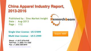 China Apparel Market Size, Share, Industry, Study 2013-2016