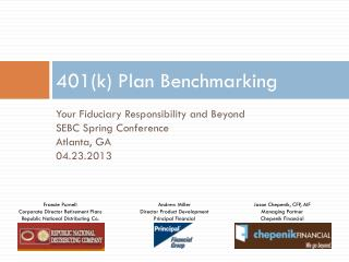 401(k) Plan Benchmarking