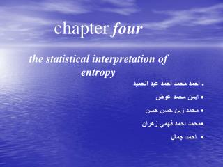 chapter  four the statistical interpretation of entropy