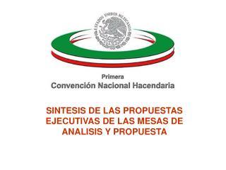 SINTESIS DE LAS PROPUESTAS EJECUTIVAS DE LAS MESAS DE ANALISIS Y PROPUESTA