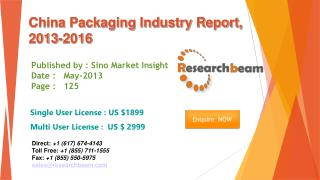 China Packaging Market Size, Share, Analysis 2013-2016