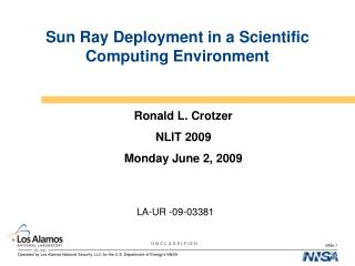 Sun Ray Deployment in a Scientific Computing Environment