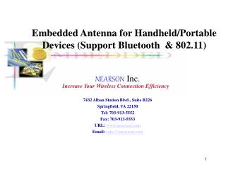 Embedded Antenna for Handheld/Portable Devices (Support Bluetooth  & 802.11)