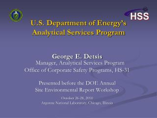 U.S. Department of Energy�s Analytical Services Program