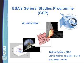 ESA's General Studies Programme (GSP)