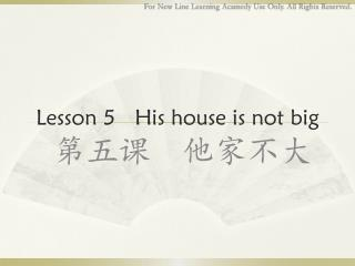 Lesson  5   His house is not big