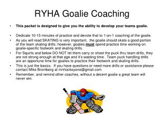 RYHA Goalie Coaching
