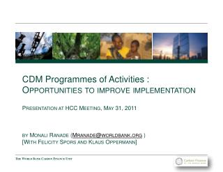 CDM Programmes of Activities  :  Opportunities to improve implementation