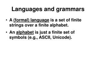 Languages and grammars