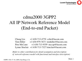 cdma2000 3GPP2  All IP Network Reference Model (End-to-end Packet)