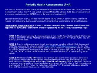 Periodic Health Assessments (PHA)