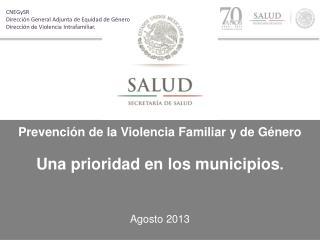 Prevenci�n de la Violencia Familiar y de G�nero Una prioridad en los municipios .