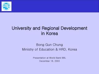 University and Regional Development in Korea