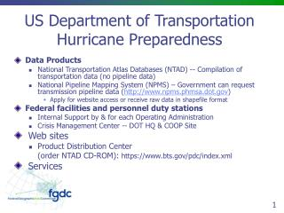 US Department of Transportation Hurricane Preparedness