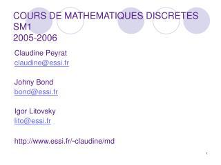 COURS DE MATHEMATIQUES DISCRETES SM1 2005-2006