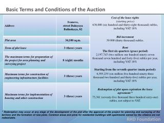 Basic Terms and Conditions of the Auction