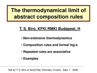 The thermodynamical limit of abstract composition rules