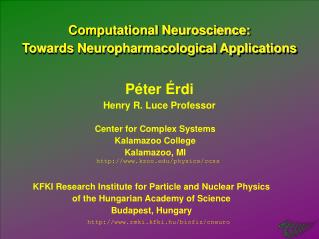 Computational Neuroscience: Towards Neuropharmacological Applications
