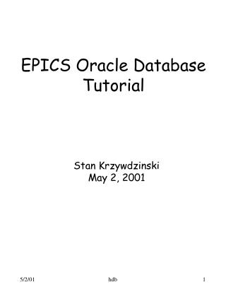 EPICS Oracle Database Tutorial