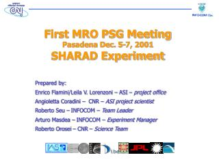 First MRO PSG Meeting Pasadena Dec. 5-7, 2001 SHARAD Experiment