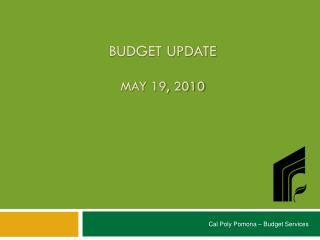 Budget Update May 19, 2010