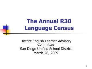 The Annual R30 Language Census