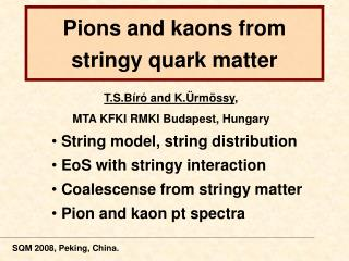 Pions and kaons from stringy quark matter