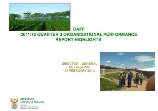 DAFF   2011/12 QUARTER 3 ORGANISATIONAL PERFORMANCE  REPORT HIGHLIGHTS