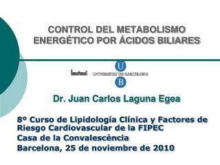 CONTROL DEL METABOLISMO ENERGÉTICO POR ÁCIDOS BILIARES Dr. Juan Carlos Laguna Egea