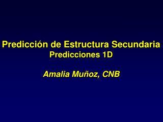 Predicción de Estructura Secundaria Predicciones 1D Amalia Muñoz, CNB