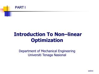 Introduction To Non–linear Optimization Department of Mechanical Engineering