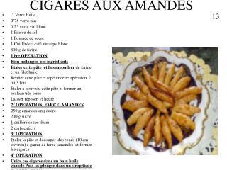 CIGARES AUX AMANDES
