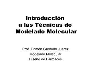 Prof. Ramón Garduño Juárez Modelado Molecular Diseño de Fármacos