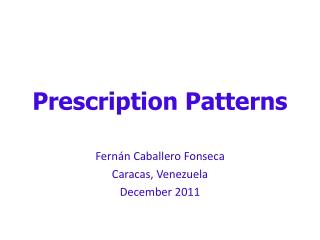 Prescription Patterns