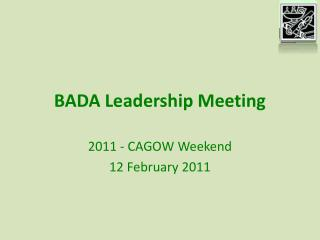 BADA Leadership Meeting