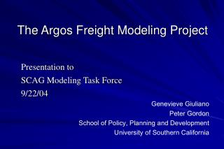 The Argos Freight Modeling Project