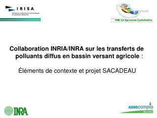 Collaboration INRIA/INRA sur les transferts de polluants diffus en bassin versant agricole  :